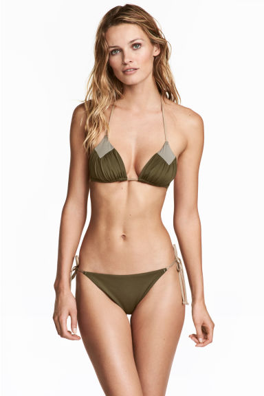 Tie tanga bikini bottoms - Khaki green - Ladies | H&M 1