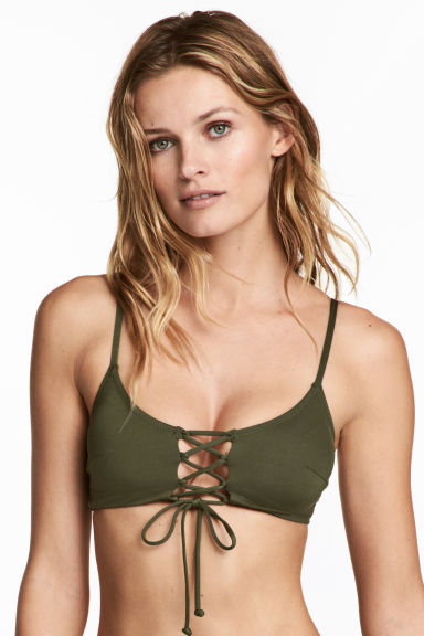 Bikini top with lacing - Khaki green -  | H&M