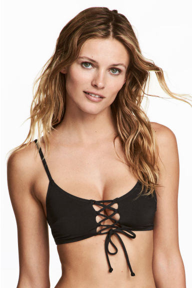 Bikini top with lacing - Black -  | H&M
