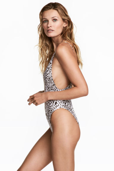 V-neck swimsuit - White/Leopard print - Ladies | H&M 1