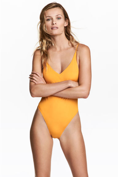 V-neck swimsuit - Dark yellow - Ladies | H&M 1