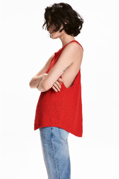 Knitted top - Red - Ladies | H&M CN 1