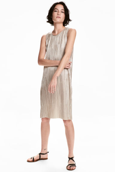 Dress with a metallic print - Silver - Ladies | H&M 1