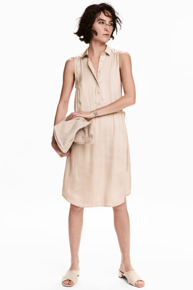 Satin dress - Light beige - Ladies | H&M CN 1