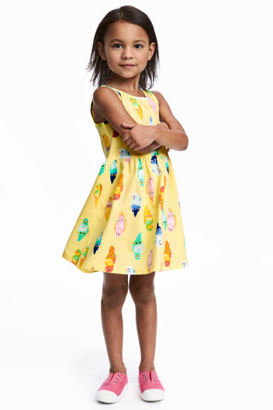 Patterned jersey dress - Yellow/Birds - Kids | H&M 1