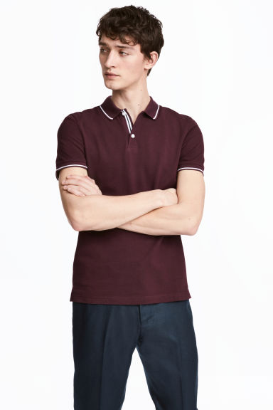 Premium cotton piqué shirt - Burgundy - Men | H&M CN 1