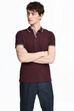 Premium cotton piqué shirt - Burgundy - Men | H&M 1