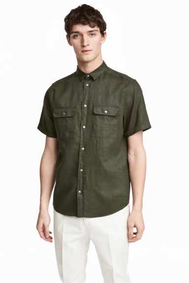 Short-sleeved linen shirt - Dark khaki green - Men | H&M CN 1