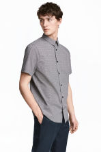 Short-sleeved shirt Slim fit - Black/Patterned - Men | H&M 1