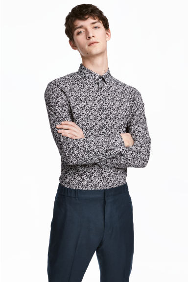 Premium cotton shirt - Black/Patterned -  | H&M