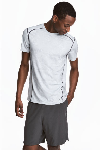 Short-sleeved sports top - Light grey/Patterned - Men | H&M