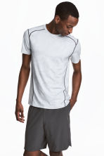 Short-sleeved sports top - Light grey/Patterned - Men | H&M 1
