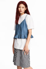 Flounced strappy denim top - Denim blue - Ladies | H&M CN 1