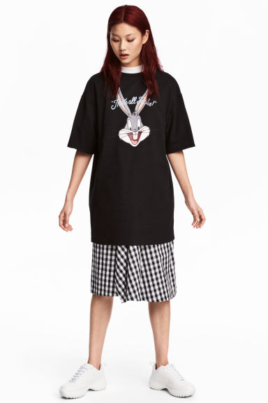 T-shirt dress - Black/Looney Tunes - Ladies | H&M 1