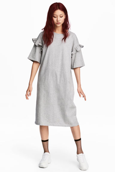Oversized T-shirt dress - Grey marl - Ladies | H&M CN