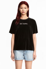 Velour T-shirt - Black - Ladies | H&M 1