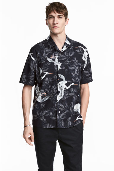 Resort shirt Regular fit - Dark blue/Birds -  | H&M 1