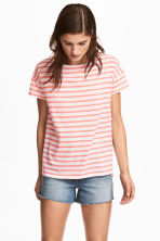 Short-sleeved top - Coral/Striped - Ladies | H&M CN 1