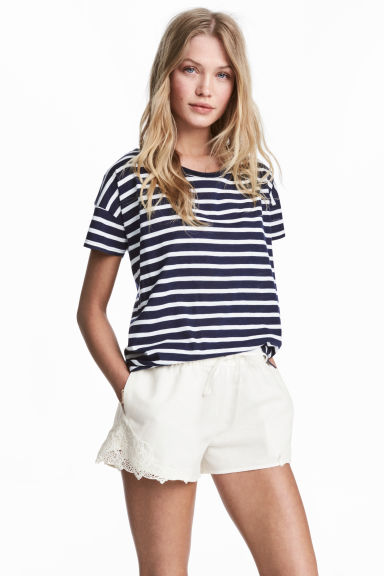 Short-sleeved top - Dark blue/Striped - Ladies | H&M GB 1