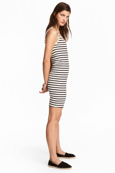 Ribbed jersey dress - White/Striped - Ladies | H&M CA 1