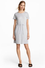 Jersey dress with a drawstring - Light grey marl - Ladies | H&M 1