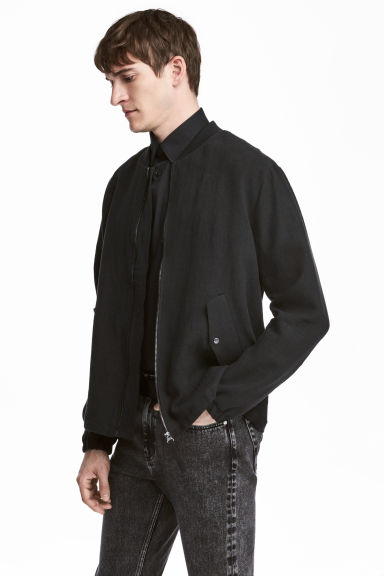 Linen bomber jacket - Black - Men | H&M 1
