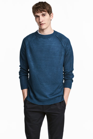 亞麻套衫 - Navy blue - Men | H&M 1