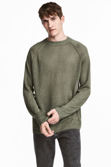 Linen jumper - Khaki green - Men | H&M 1