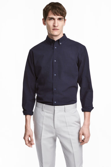 優質棉襯衫 - Dark blue/Checked - Men | H&M 1