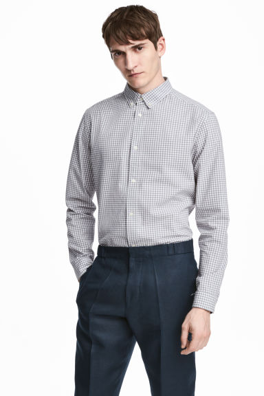 Premium cotton shirt - Grey/Checked - Men | H&M CN