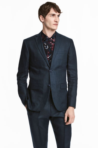 Linen jacket - Dark blue - Men | H&M CN 1