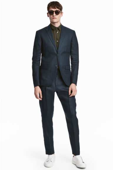 Linen suit trousers Slim fit - Dark blue - Men | H&M