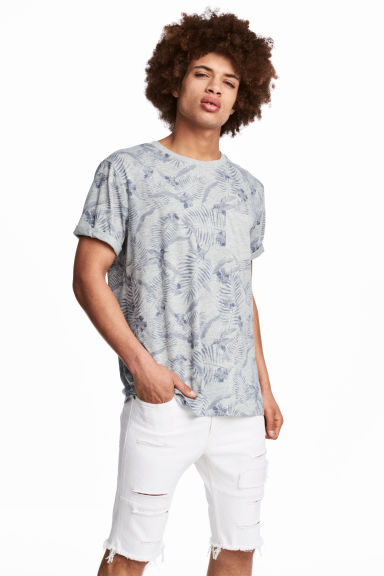 T-shirt with a chest pocket - Grey/Floral - Men | H&M 1