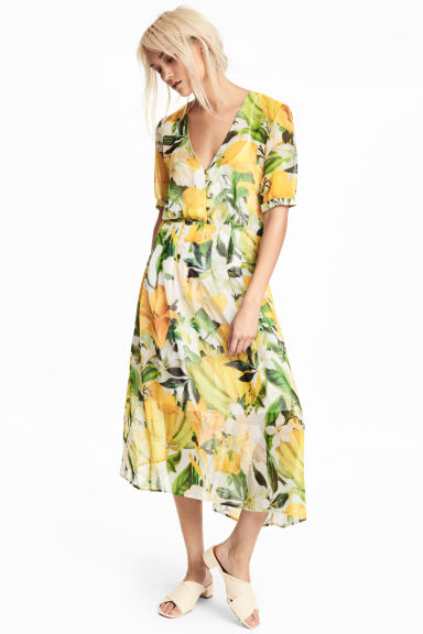 Chiffon dress - White/Yellow patterned - Ladies | H&M GB 1