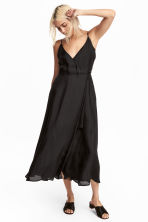 Patterned wrapover dress - Black - Ladies | H&M CN 1