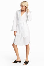 Cotton wrap dress - White -  | H&M 1