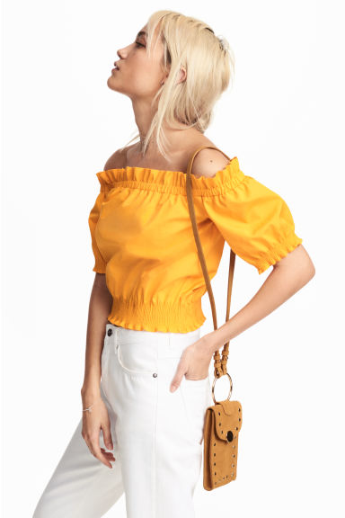 Off-the-shoulder blouse - Orange - Ladies | H&M CN