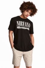 T-shirt met print - Zwart/Nirvana - HEREN | H&M BE 1