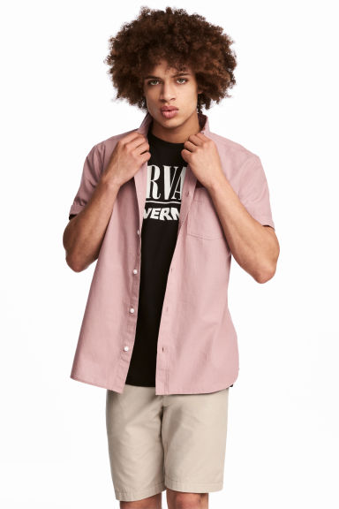 Short-sleeve shirt Regular fit - Dusky pink - Men | H&M