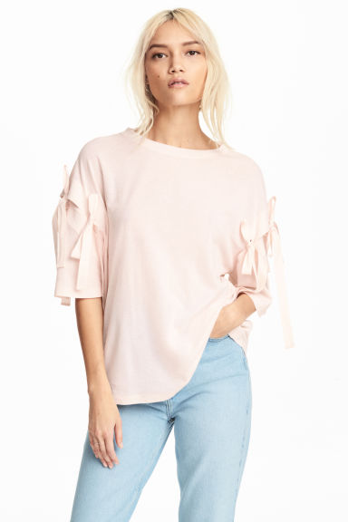 綁帶裝飾上衣 - Powder pink - Ladies | H&M