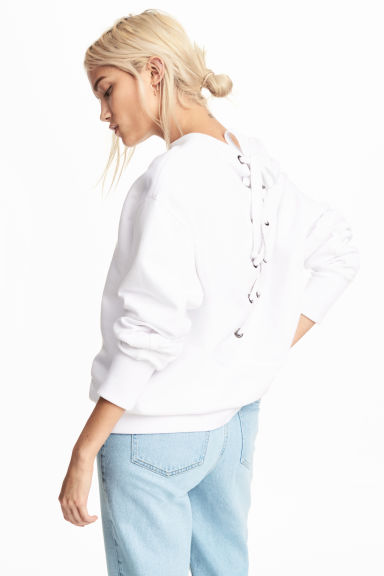 Laced-back sweatshirt - White - Ladies | H&M CA