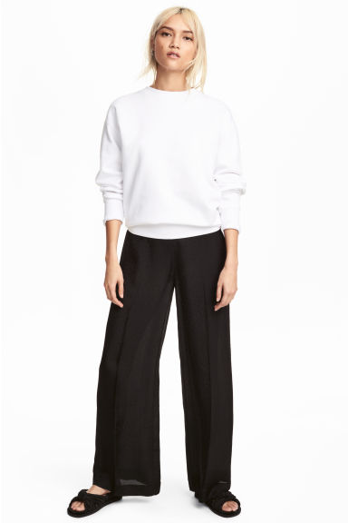 Jacquard-patterned trousers - Black -  | H&M CN 1