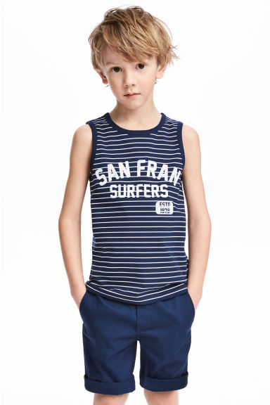 Printed vest top - Dark blue/Striped - Kids | H&M CN 1