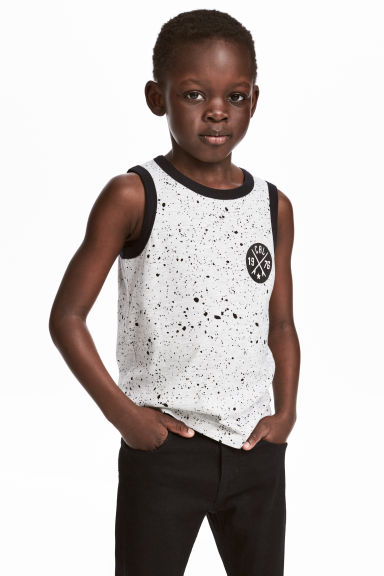 Printed vest top - Light grey marl -  | H&M 1