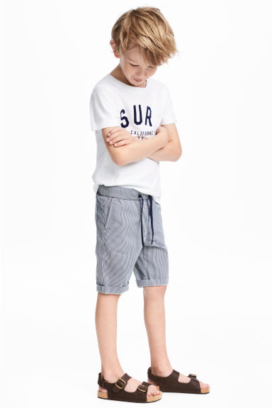 Linen-blend shorts - Dark blue/White -  | H&M CN 1