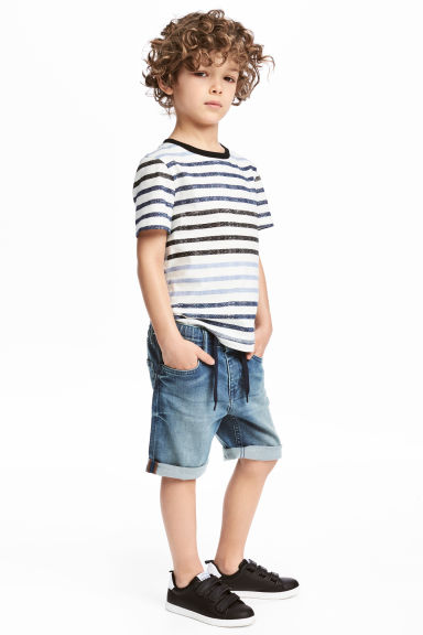 Elasticated denim shorts - Denim blue - Kids | H&M 1