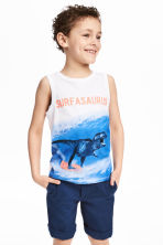 Printed vest top - White/Dinosaur - Kids | H&M 1
