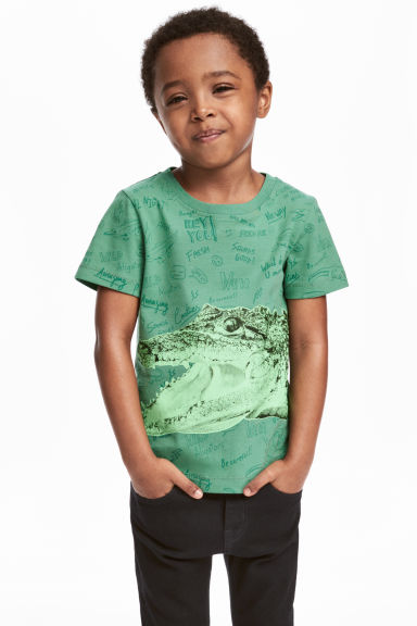Printed T-shirt - Green/Crocodile -  | H&M CN