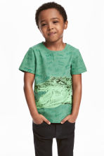 圖案T恤 - Green/Crocodile - Kids | H&M 1