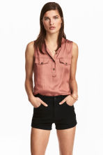 Sleeveless satin top - Vintage pink - Ladies | H&M 1